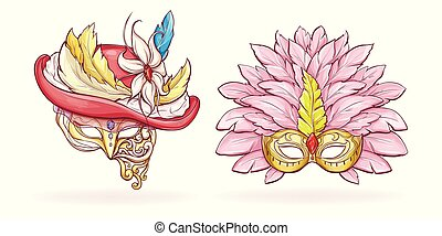 Luxurious Mardi Gras face masks cartoon vector