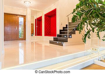 Luxurious modern villa interior with stairs