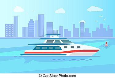 Luxurious Modern Yacht on Water Surface near City