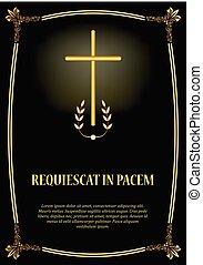 Luxurious obituary template with golden cross, golden...