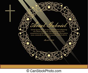 Luxurious obituary with golden circle filigree patterned wreath and simple crucifix on black background with light rays. Burial announcement in luxurious design.