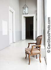 Luxurious palace interior with armchair in Malta
