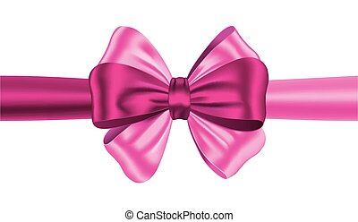 Luxurious pink bow on white