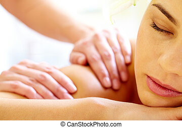 Luxurious procedure - Close-up of calm female during ...