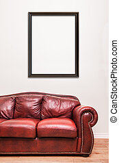 Luxurious Red Leather Couch in front of a blank frame to ad your text, logo, images, etc.