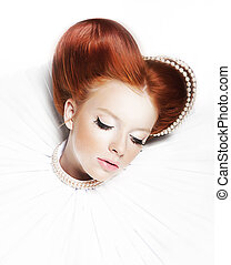 Luxurious redhair duchess - freckled girl with pearl...
