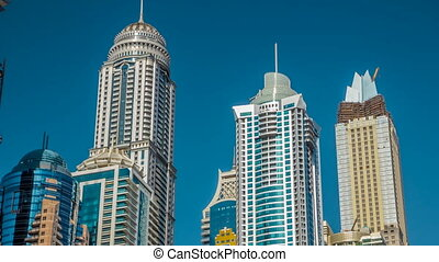 Luxurious Residence Buildings timelapse hyperlapse in Dubai Marina, UAE