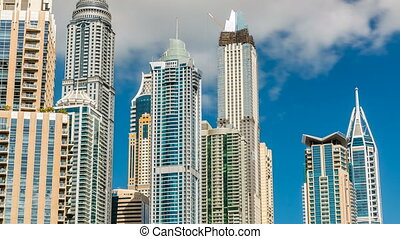 Luxurious Residence Buildings timelapse in Dubai Marina, UAE...