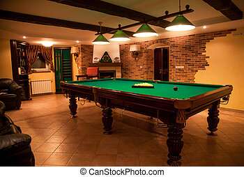luxurious room with billiard table
