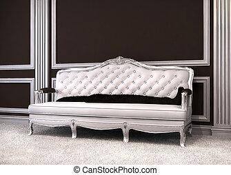 Luxurious sofa in classical interior.