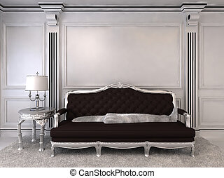 Luxurious sofa in modern interior. Luxe. Furniture in royal...