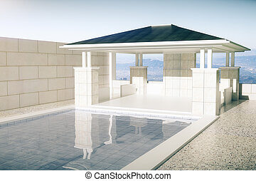 Luxurious swimming pool with patio - Luxurious swimming pool...