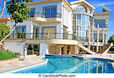 Luxurious villa and swimming pool in Cyprus.