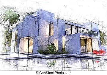 Luxurious villa with pool draft - Draft of a luxurious villa...