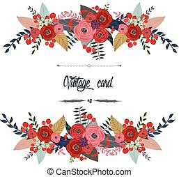 Luxurious vintage card of color flowers