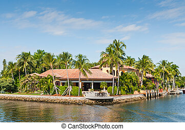 Luxurious waterfront home in Fort Lauderdale, USA. There are...