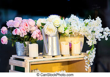 Luxurious wedding Beautiful flowers on the table