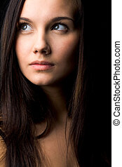 Luxurious woman - Image of young female with dark hair...