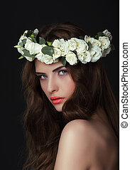 Luxurious Woman in Chaplet of Fresh Flowers