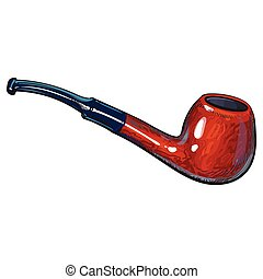Luxurious wooden varnished tobacco smoking pipe, sketch vector illustration