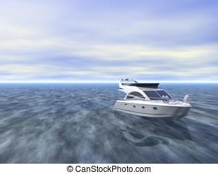 Luxurious yaht at sea - Luxurious speed yaht at sea