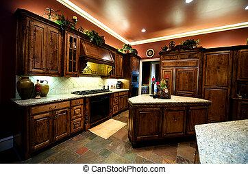 luxuriously, décoré, cuisine