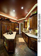 luxuriously, decorado, cozinha