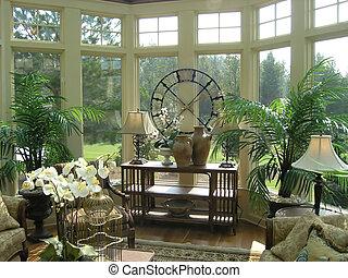 Luxury sun room designer model home interior