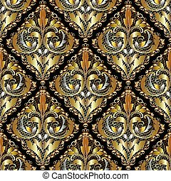 Luxury 3d Baroque Damask seamless pattern. Ornate vintage lace b