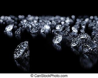 Luxury 3D diamonds render on black backgorund with DOF