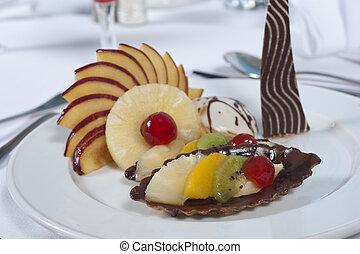 Luxury a la carte fruit salad - Closeup detail of a luxury...
