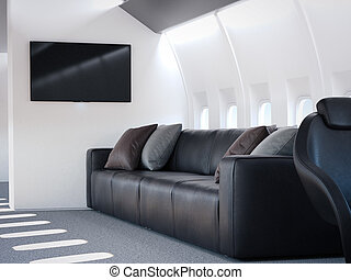 Luxury airplane interior with leather sofa. 3d rendering