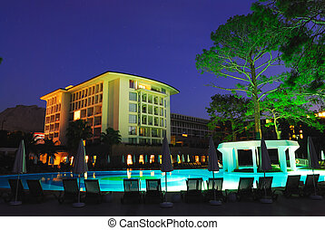 Luxury all inclusive beach resort at night Turkey. Antalya
