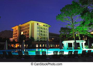 Luxury all inclusive beach resort at night Turkey. Antalya