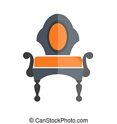 Luxury antique armchair in dark and orange colors isolated...