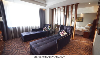 Luxury Apartment Interior. Pan shot of a luxury apartment interior.