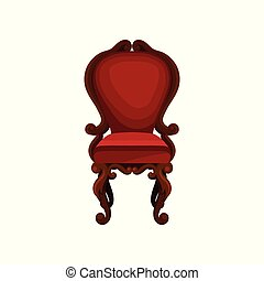 Luxury armchair for home interior. Wooden chair with red velvet trim. Antique furniture for dining room. Flat vector icon