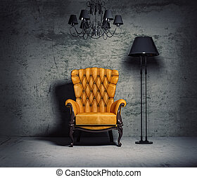 armchair - luxury armchair in grunge interior (3D rendering)...