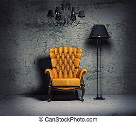 armchair - luxury armchair in grunge interior (3D rendering)...