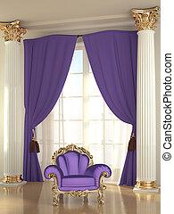 Luxury armchair in modern interior apartment, baroque
