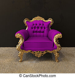 Luxury armchair with golden frames and royal chandelier in...