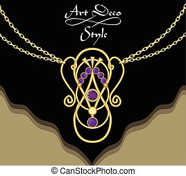 Luxury art deco filigree necklace, pendant with purple amethyst on fine golden chain, antique gold jewel, fashion in victorian style