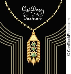 Luxury art deco filigree pendant, jewel with green emerald on golden chain , antique elegant gold jewelry, fashion in victorian style