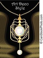 Luxury art deco filigree pendant, jewel with worn diamond on golden chain , antique elegant gold jewelry, fashion in victorian style