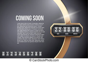 Luxury Background Coming Soon and countdown timer. Vector. -...