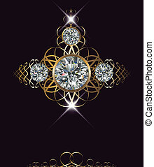 Luxury background with diamonds and gold ornaments, vector.