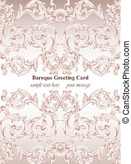 Luxury Baroque card ornament background Vector. Rich imperial intricate elements. Victorian Royal style pattern