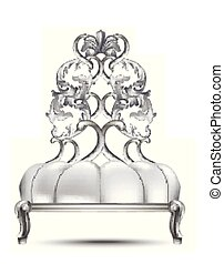 Luxury Baroque chair Vector realistic 3D design. Rich carved ornaments Silver colors