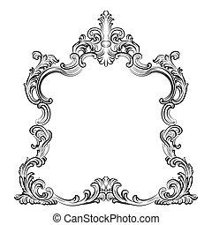 Luxury Baroque Rococo Mirror frame set. Vector French Luxury...