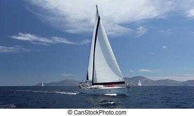 luxury., bateau, voile, regatta.